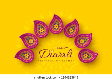 Diwali festival holiday design with paper cut style of Indian Rangoli. Purple color on yellow background. Vector illustration.