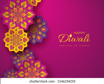 Diwali festival holiday design with paper cut style of Indian Rangoli. Purple color background. Vector illustration.