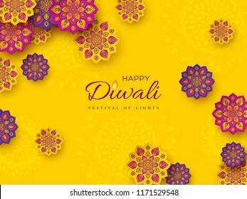 Diwali festival holiday design with paper cut style of Indian Rangoli. Purple, violet color on yellow background. Vector illustration.