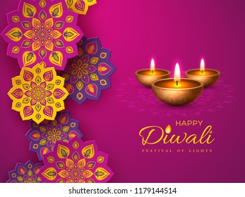 Diwali festival holiday design with paper cut style of Indian Rangoli and diya - oil lamp. Purple color background. Vector illustration.