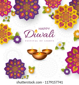 Diwali festival holiday design with paper cut style of Indian Rangoli, flowers and diya - oil lamp. White color background. Vector illustration.
