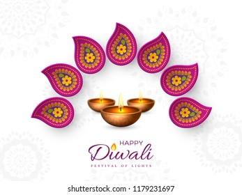 Diwali festival holiday design with paper cut style of Indian Rangoli and diya - oil lamp. Purple color on white background. Vector illustration.