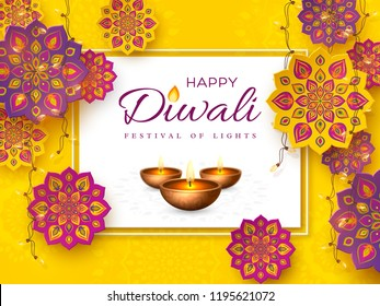 Diwali festival holiday design with paper cut style of Indian Rangoli, garland and diya - oil lamp. Purple color on yellow background. Vector illustration.