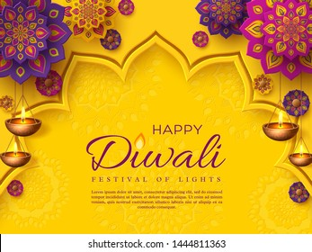 Diwali festival holiday design with paper cut style of Indian Rangoli and hanging diya - oil lamp. Purple color on yellow background. Vector illustration.