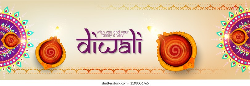 Diwali festival holiday design with Shiny colorful floral background with illuminated 3D Oil Lamps (Diya) for Diwali celebration.