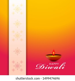 Diwali festival holiday design style of Indian Rangoli and hanging diya - oil lamp. For greeting card, banner, background. Purple color on yellow background. Vector illustration.