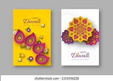 Diwali festival holiday posters with paper cut style of Indian Rangoli and flowers. Purple, violet colors on white and yellow background. Vector illustration.