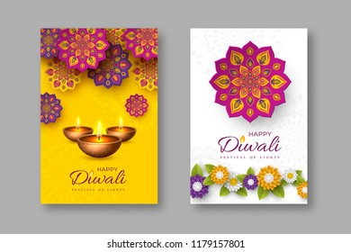Diwali festival holiday posters with paper cut style of Indian Rangoli, flowers and diya - oil lamp. Yellow and white color background. Vector illustration.