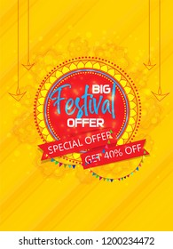Diwali Festival (Indian festival of Crackers and fireworks) Offer Poster Design Layout Template