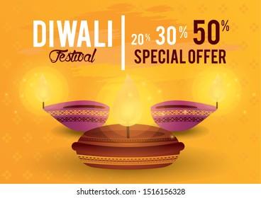 Diwali Festival Indian Offer Design with candles, vector illustration