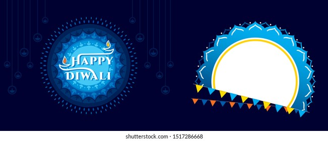 Diwali festival of light in india. creative diwali greeting card design. Vector illustration