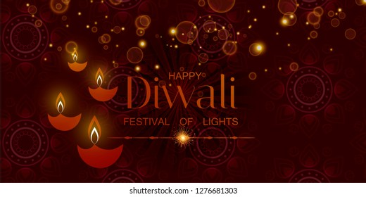 Diwali festival of light India glowing vector background with traditional ornament, oil lamps.