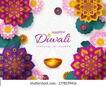 Diwali, festival of lights holiday banner with paper cut style of Indian Rangoli, diya - oil lamp and lotus flowers. White color background. Vector illustration.