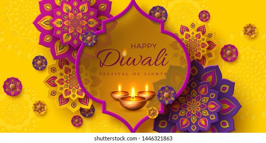 Diwali festival of lights holiday design with paper cut style of Indian Rangoli and diya - oil lamp. Purple color on yellow background. Vector illustration.