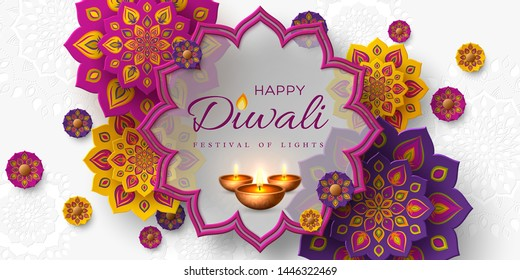 Diwali festival of lights holiday design with paper cut style of Indian Rangoli and diya - oil lamp. Purple color on white background. Vector illustration.