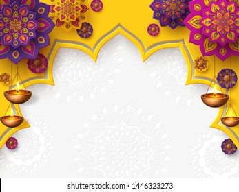 Diwali festival of lights holiday design with paper cut style of Indian Rangoli and hanging diya - oil lamp. Place for text. Vector illustration.