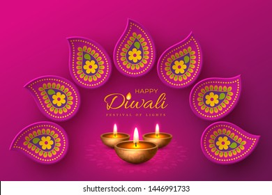 Diwali festival of lights holiday design with paper cut style of Indian Rangoli and diya - oil lamp. Purple background. Vector illustration.