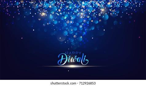 Diwali festival lights poster. DIwali holiday shiny background. Vector illustration