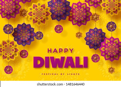 Diwali festival of lights typographic design with paper cut Indian Rangoli. Purple color on yellow background. Vector illustration.