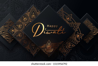 Diwali festival modern luxury design in paper cut style with golden pattern and oil lamp on black textured background. Holiday template for branding, greeting card, banner, cover, flyer or poster