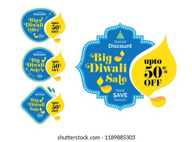 Diwali Festival Offer Banner, Sticker, Label Design with 50% Discount Tag - Diwali Sale Sticker, Banner Template Vector Illustration