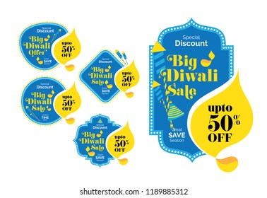 Diwali Festival Offer Banner, Sticker, Label Design with 50% Discount Tag