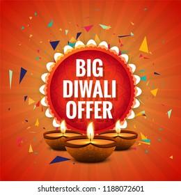 Diwali Festival Offer Big Sale Background Template Design