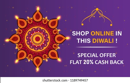 Diwali Festival Offer Big Sale Background Template with Creative Lamps, Floral Ornament, Abstract Background