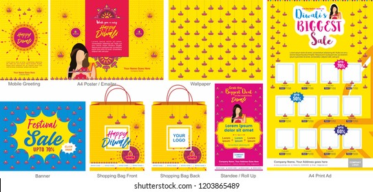 Diwali Festival Offer Big Sale Template with mobile greeting, mailer or flyer, wallpaper, print ad, Banner, Shopping bag design  and roll ups. An Indian Hindu lady holding diyas in Diwali festival.