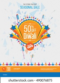 Diwali Festival Offer Design Template with 50% Discount Tag - Diwali Offer Modern Flyer Design Template