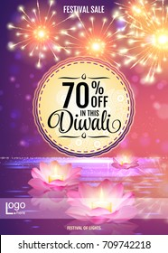 Diwali Festival Offer Poster Design Template with Lotus water lanterns and fireworks