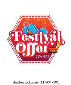 Diwali Festival Offer Sticker, Label or Badge Design with 50% Discount Tag,  Lamps and Shopping Bag Vector Illustration