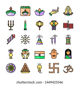 Diwali Festival, One of the most famous festival in India, icon set (Filled outline icons) on white background.