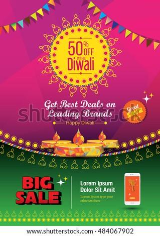 Diwali Festival Poster Design Template 50 Stock Vector (Royalty Free
