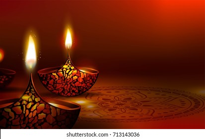 Diwali festival poster. DIwali holiday shiny background with diya lamps and rangoli. Vector illustration