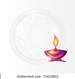 Diwali festival poster. DIwali holiday shiny background with diya lamp and rangoli. Vector illustration