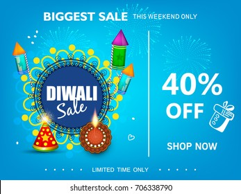 Diwali Festival Sale 40% off text, Sticker, fire cracker and line art based Traditional floral burning lamp , Bumper Dhamaka Offer, Biggest Sale - Vector Illustration Usable for Poster, Banner ,Flyer