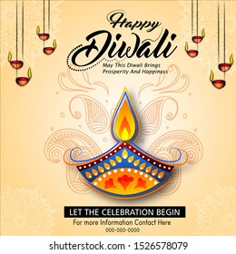 Diwali Festival Sale Design Template with Discount Tag and Creative Lamps, Floral Ornament ,mandala, Abstract Background - Diwali Offer Modern Flyer Design Template