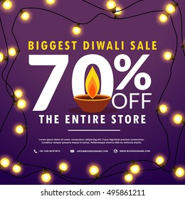 diwali festival sale discount and offers banner with light bulbs decoration and diya