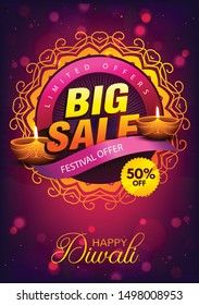 Diwali Festival Sale Poster Flyer Layout Template a4 Size