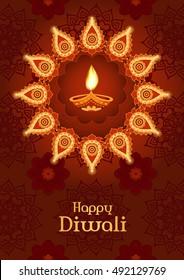 Diwali festival. Template for greeting card, poster, flyer design