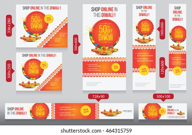 Diwali Festival Website Banner Template Design with Different Size