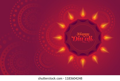 Diwali Festive Background Design Template with Creative Lamps Vector Illustration