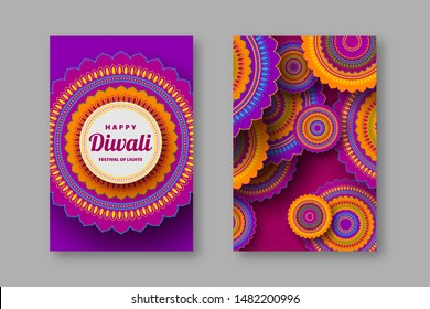 Diwali greeting card with 3d paper cut Indian rangoli. Festival of lights design. Purple bright colors. Vector illustration.