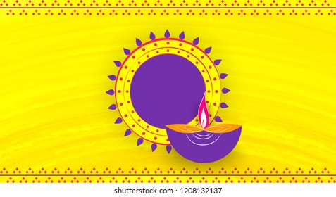 Diwali greeting card with beautiful   lamp and rangoli illustration with textured background. Happy Diwali, festival of lights, design card,banner,poster. Oil lamps. for shubh Deepawali.