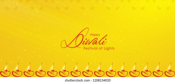 Diwali greeting card with beautiful lamp illustration with textured background. Happy Diwali, festival of lights, design card,banner,poster. Oil lamps for shubh Deepawali. Front view of oil lamps.