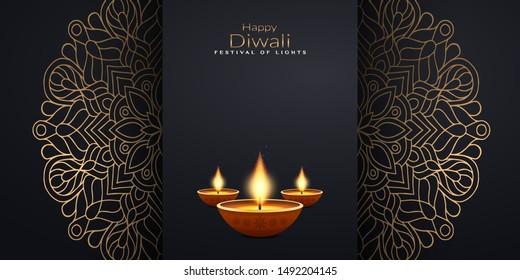 Diwali Greeting Card. Festival holiday design background. Vector illustration