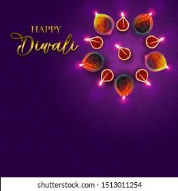 Diwali greetings design. Top angle oil lamp decorations.