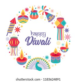 Diwali Hindu festival greeting card design. Vector illustration