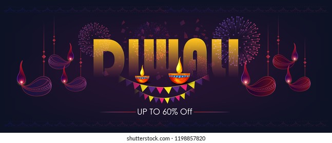 Diwali Hindu festival greeting card header or banner, Shiny colorful diya , modern elements background with illuminated 3D Oil Lamps (Diya) for Diwali celebration.